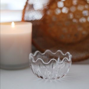 Vintage Cut Crystal Starburst Scalloped Edge Dish